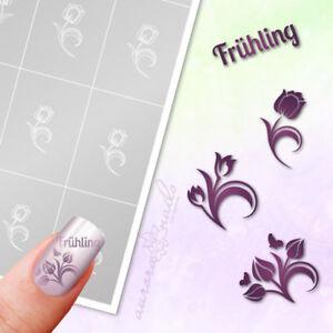Schablonen Airbrush Nailart Set88 Fruhling Blume Floral Schriftzug