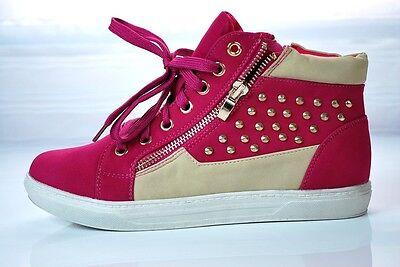high top Sneakers Sportschuhe Turnschuhe Nieten Zipper Kontrast Hipster color mx