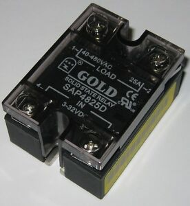 Gold Solid State Relay 480V AC 25A SAP4825D 332 VDC Control