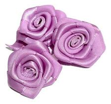 "3 pieces Lavender 1"" satin ribbon rolled rosette flower / DIY baby headband"