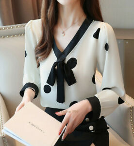 Spring-Women-Long-Sleeve-V-Neck-Bow-Tie-Casual-Loose-Chiffon-T-Shirt-Blouse-Tops