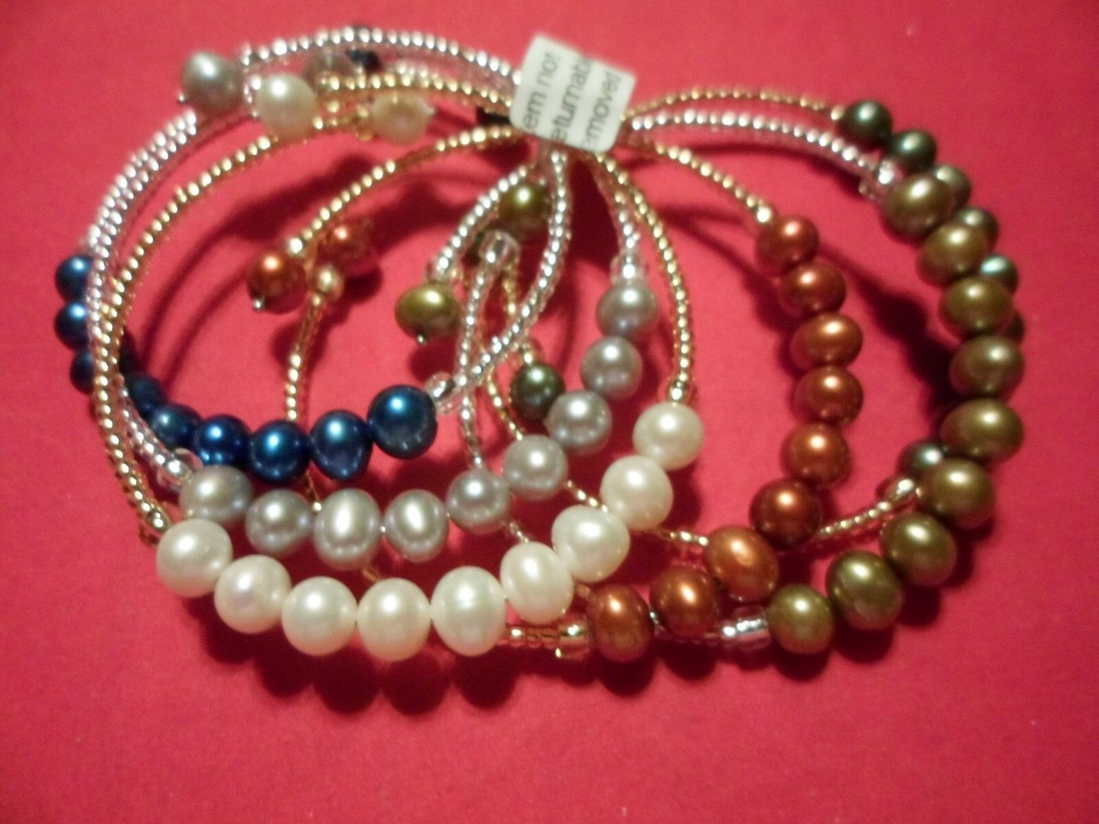 Freshwater, Cultured, Multi-color Pearl, Seed Bead, Set of 6 Bracelets