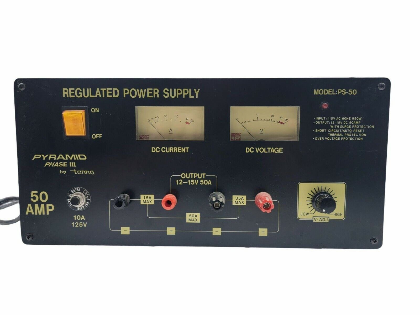 Tenna Pyramid Phase III PS-50 50 AMP Ham Radio Regulated Power Supply. Available Now for 190.00