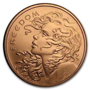 Freedom Girl Double Sided Copper 1 oz .999 Art Round Great Condition