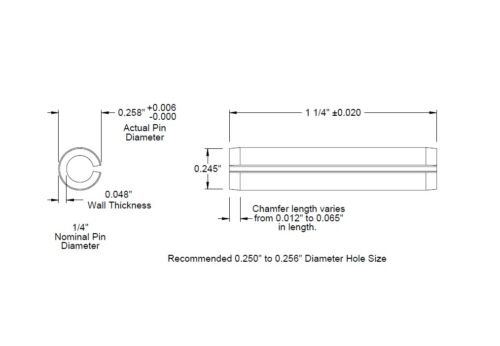 1 1//4 lg SAE Roll Pins 3 Lengths Available x 5//8 lg 1 3//4 lg .250 1//4 Dia