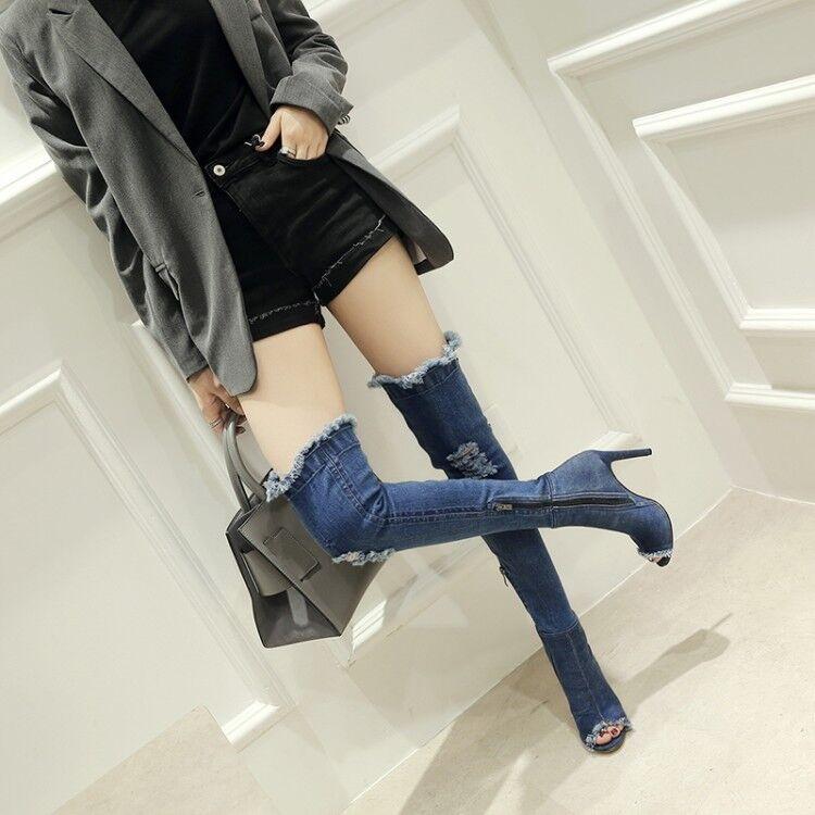 Womens Thigh High Over The Knee Denim Peep toe Stiletto Heel Boots Size uk2.5-9