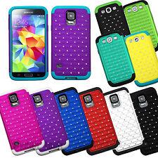 For Samsung Galaxy Lattice Bling Studded Diamond Hybrid Case Shockproof Cover