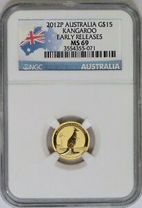 2012 NGC Australia $5 1/10 oz Gold Kangaroo MS69 ER Flag Label