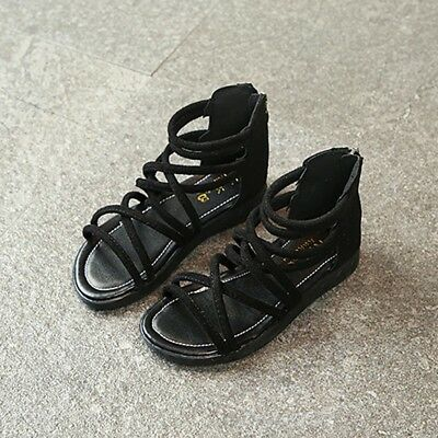 Fashion Child Toddler Kid Girl Leather Rope Zip Boot Beach Sandals Fashion Shoes