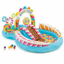 Intex 9ft x 6ft x 51in Kids Inflatable Candy Zone Play Center Pool w/ Waterslide