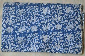 1-Yard-Indian-Blue-Hand-Block-Print-Cotton-Fabric-Dressmaking-Sewing-Craft-q