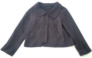 Women's Jakke Krave Zara uld Zip Coat Dressy 4 G5 Plaid Small 6 Blend Blazer Bvddqp