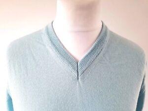 Mens-Italian-merino-wool-silk-v-neck-jumper-M-amp-S-COLLEZIONE-L-pale-blue