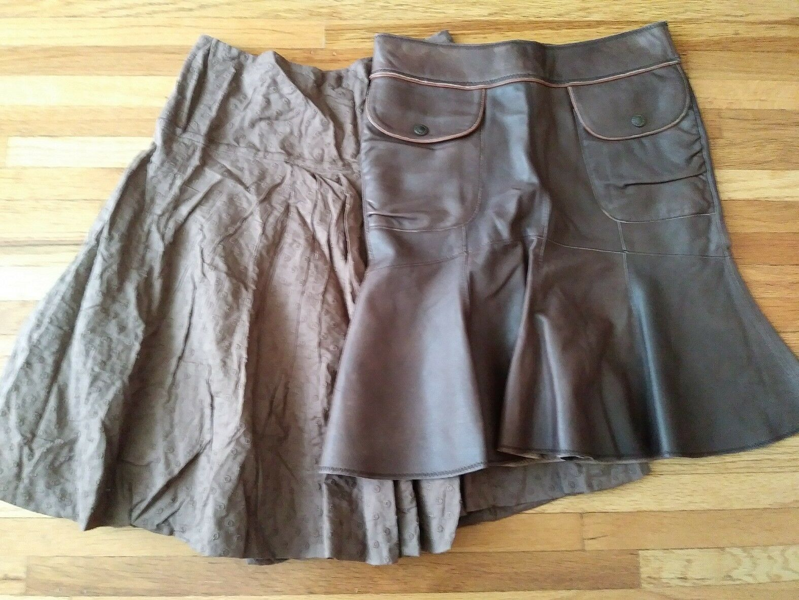 Bcbg Brown Cotton & Anthropologie June Brown Leather Skirt SIZE 0 Lot 2