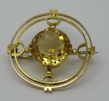 **BEAUTIFUL ANTIQUE 9CT GOLD 5CT NATURAL CITRINE ARTS & CRAFTS BROOCH C1910**