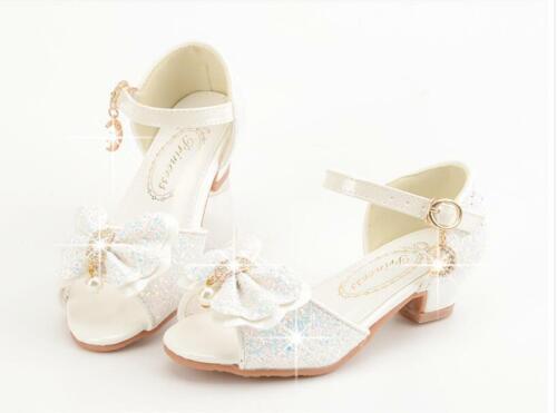 Kids Girls Fashion Open Toe Sweet Bowknot High Heels Princess Dance Shoes Size