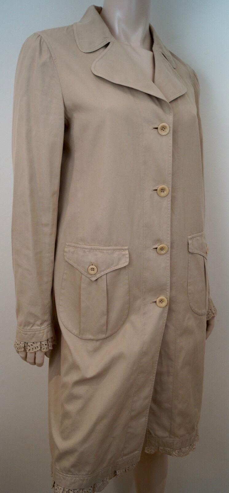 MIU MIU Beige Cotton Collared Crochet Trim Long Sleeve Mac Trench Coat 44 UK12