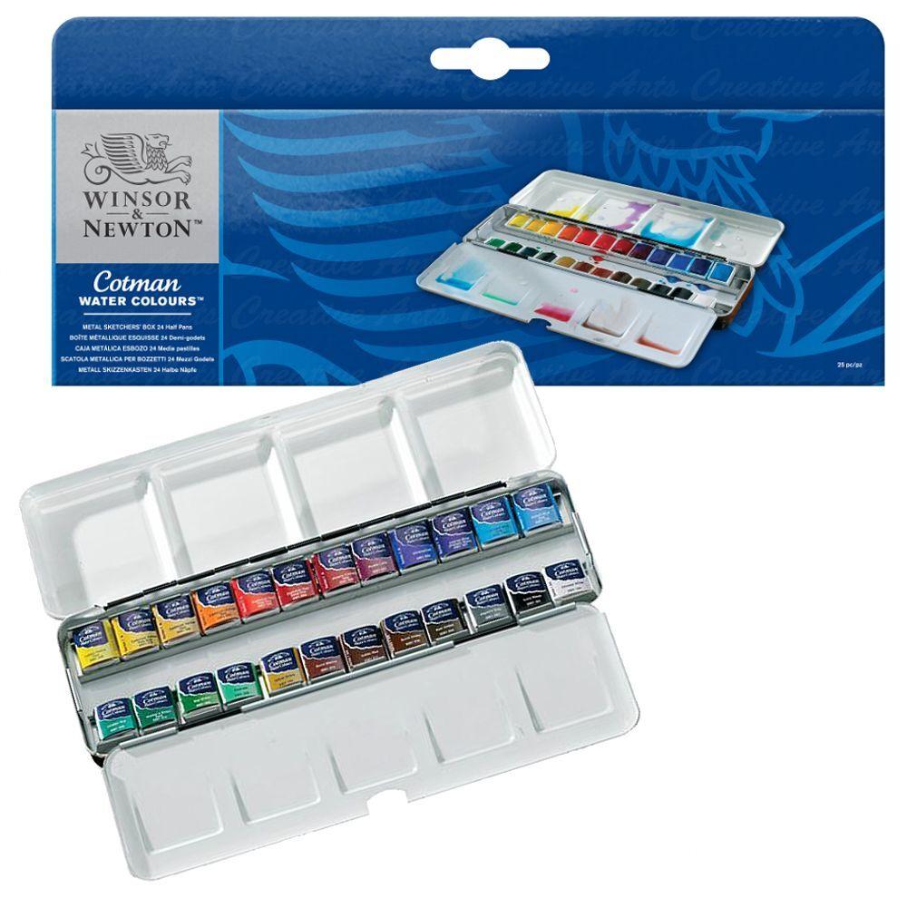 Winsor Newton Cotman Artist Water Colour Metal Sketchers Box 24 Half Pan Set