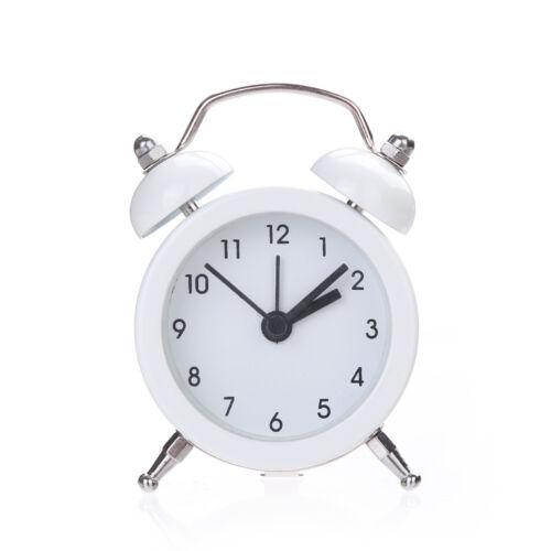Mode Mini Twin Bell Alloy Stainless Metal Alarm Clock Wecker Uhr geräuschlos