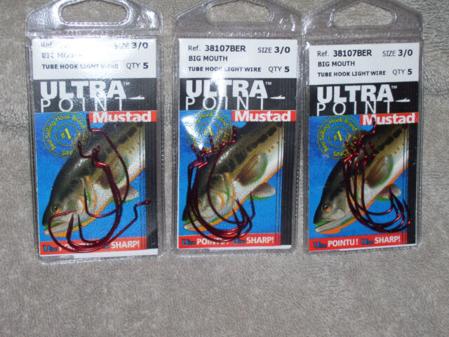 3 Packs KVD Mustad Big-Mouth Tube Hooks 3//0
