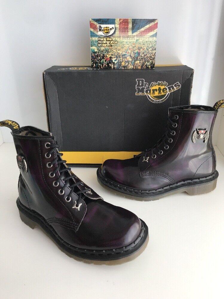 Nuevo Y En Caja! Dr. Martens 1A82 Morado/Negro Pasión Gárgola botas talla UK5 * Inglaterra