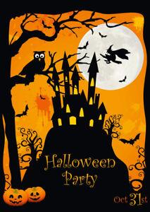 034-SPUK-SCHLOSS-MIT-HEXE-034-Gruseliges-Einladungskarten-Set-fuer-Halloween