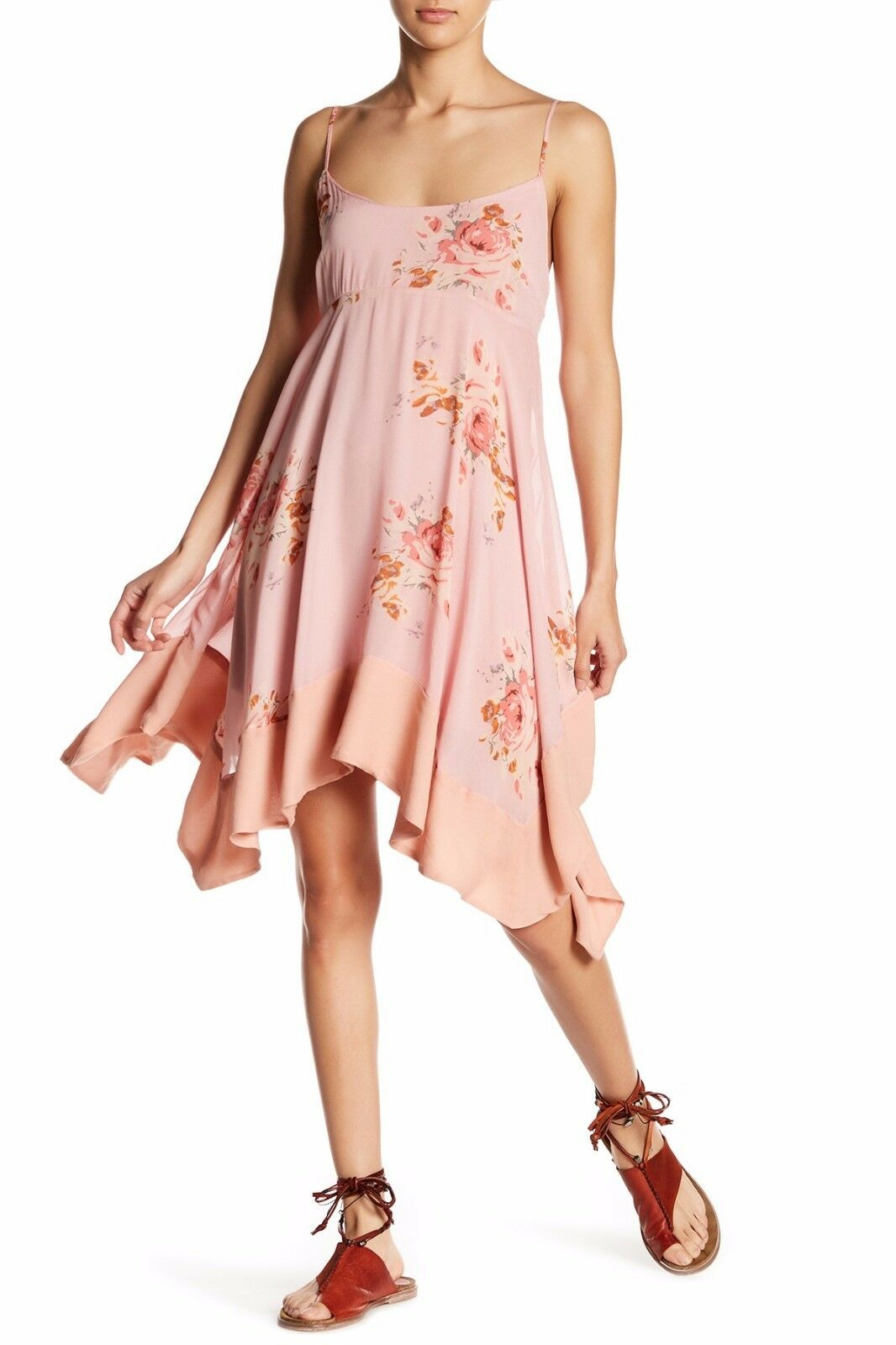 NWT FREE PEOPLE SzS FADED BLOOM SLEEVELEES FLORAL MINI DRESS PINK COMBO