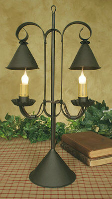 Primitive new double hanging shaded rustic brown tin accent light/ nice size