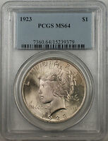 1923 Silver Peace Dollar $1 Coin PCGS MS-64 Better Coin (BR-12 Q)
