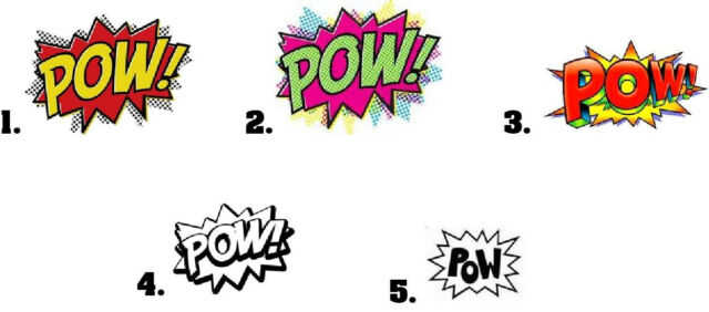 Waterslide Nail Decals Set of 20 - Comic Book POW Sound Effects - you choose