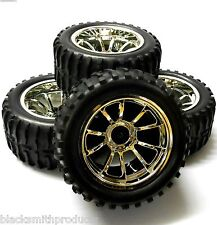 A890020 1/10 Scale Off Road Monster Truck RC Wheels and Tyres Silver 10 Spoke 4