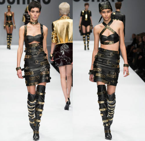 Moschino Couture x Jeremy Scott GOLD LOGO LETTER LEATHER BOOTS ALL OVER BUCKLES