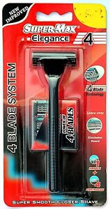 Supermax-elegance-Safety-Razor-with-4Blade-Smooth-Shave-4-Cartridges-Refills