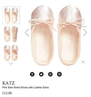 Katz Ivory Satin Suede-sole Ballet shoes