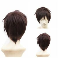 New Fashion Short Brown Straight wigs men /women Hair Cosplay Anime Sexy Wig Cap