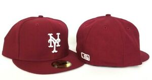 hot sale online new photos order New Era 59Fifty Burgundy on White New York Mets Logo fitted hat | eBay