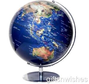 STUNNING Educational World Globe Clear Blue Satellite View 25cm Diam Home Decor