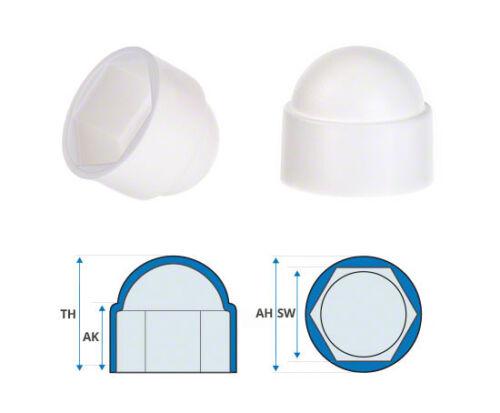 25 caps white bolt nut protection cap cover for screws hexagonal plastic dome