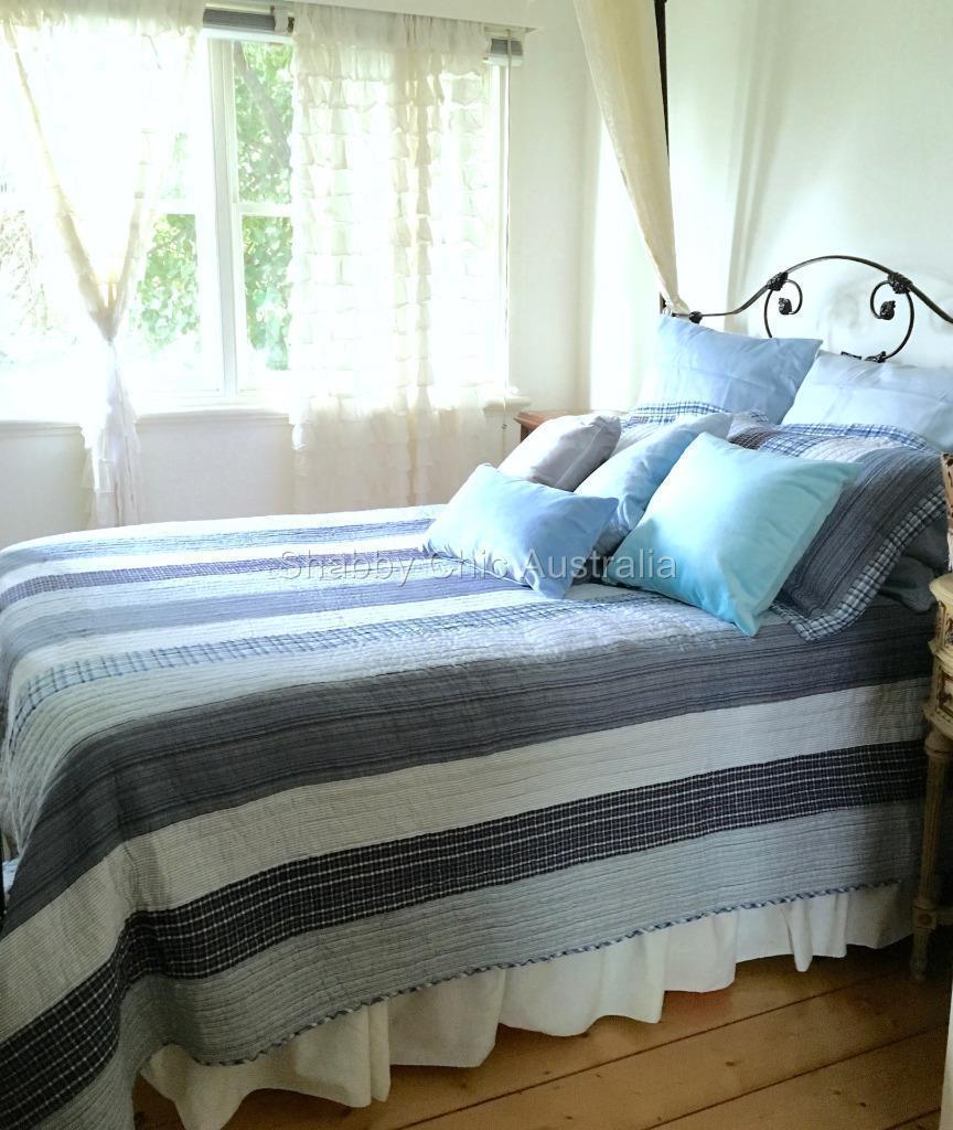3 Pc Queen Bed Quilt Set Farmhouse Pottery Rustic Blue