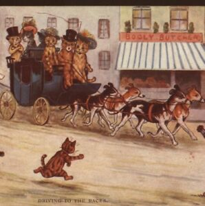 "FAULKNER..LOUIS WAIN GREYHOUND DOG,CATS ""DRIVING TO RACES"" ADVERTISING POSTCARD"