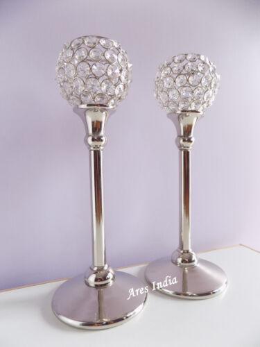 33 CM Crystal Votive Tealight Candle Holders Centerpieces Candelabra Set of 2