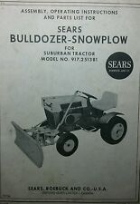 Sears Bulldozer Plow Implement Garden Tractor Owner Amp Parts Manual 917251381