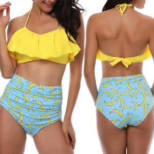 6a6ab121b0 Women Ruffle Bikini Top + High Waist Bottom Swimsuit Beach Swimwear ...