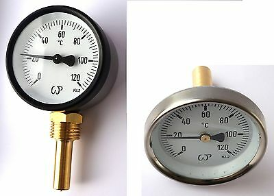 """Solid Metal Industrial Temperature Gauge Dial Probe 1/2"""" both entry available"""