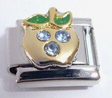APPLE Italian Charm BLUE GEMS 9mm fits Classic Size Starter Bracelets March N76
