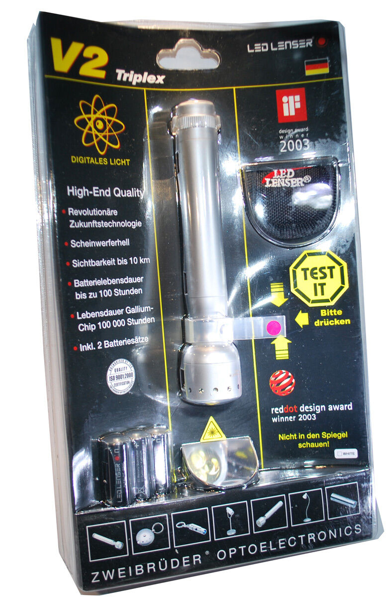 Zweibrüder LED LENSER V2 Triplex 7647 Taschenlampe 65 Lm Lampe Sportlampe