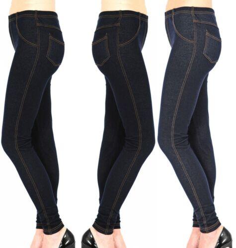 New Ladies Womens Stretchy Denim Look Skinny Jeggings Leggings Plus Size 8-26 UK