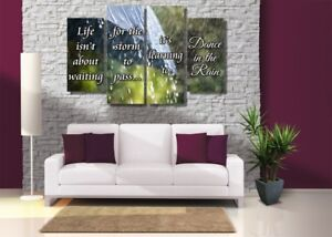 Details About Dance In The Rain Canvas Set Ready To Hang Motivational Quote Wall Art Decor