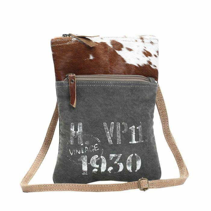 Myra Bags Vintage 1930 VP11 Canvas and Hairon Crossbody Bag