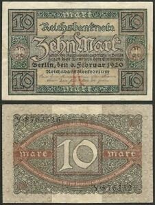 GERMANY-10-mark-1920-P-67-Europe-banknote-Edelweiss-Coins